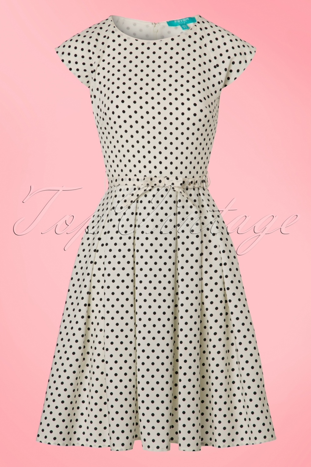1950s Polka Dot Dresses 50s Mary Dots Prom Dress in Ivory and Black £80.48 AT vintagedancer.com