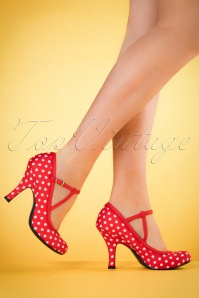 Ruby Shoo Jessica T Strap Red Spots 401 27 19809 model 03082017 005W