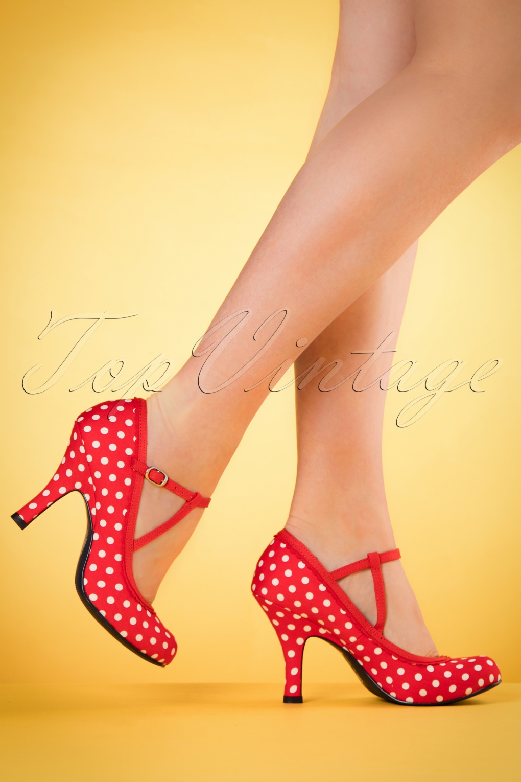 Pin Up Shoes- Heels & Flats 50s Jessica Ankle Strap Pumps in Red Polkadots £59.41 AT vintagedancer.com