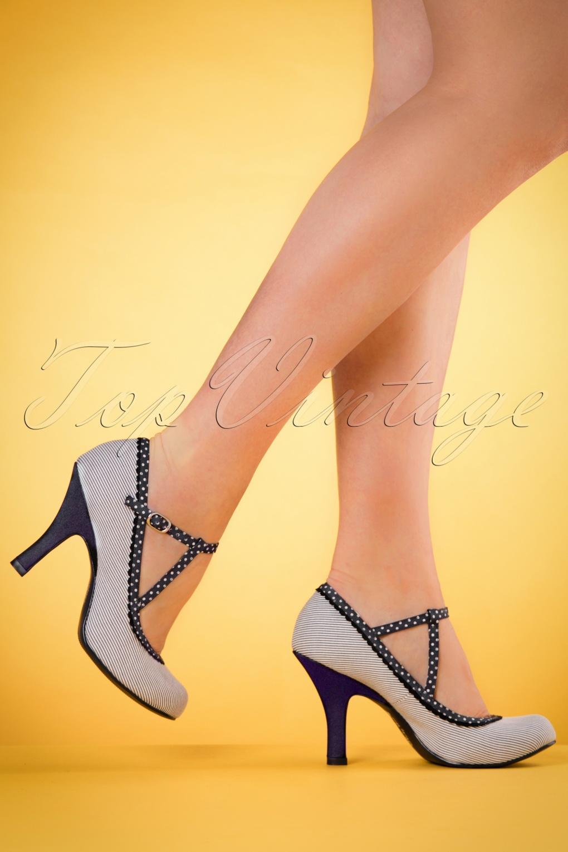 Pin Up Shoes- Heels & Flats 50s Jessica Ankle Strap Pumps in Blue Stripes £59.41 AT vintagedancer.com