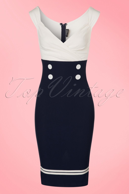 Wiggle Dresses 50s Diva Set Sail Pencil Dress in Navy and White £76.96 AT vintagedancer.com