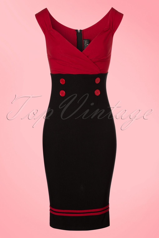 Wiggle Dresses 50s Diva Set Sail Pencil Dress in Black and Red £76.96 AT vintagedancer.com