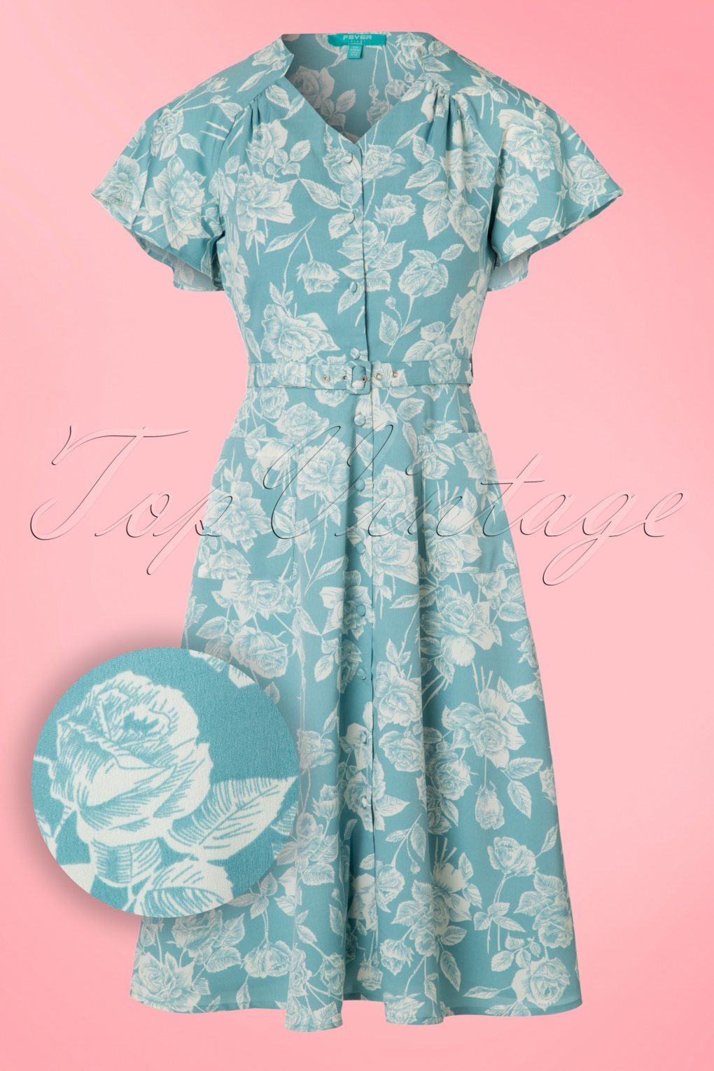 1940s Day Dresses 40s Darla Roses Swing Dress in Antique Blue £84.55 AT vintagedancer.com