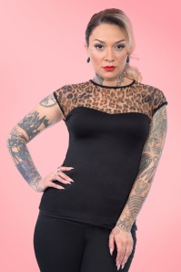 50s Miss Fancy Leopard Top in Black