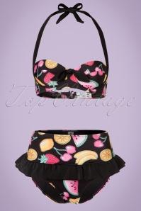 50s Tutti Frutti Bikini in Black