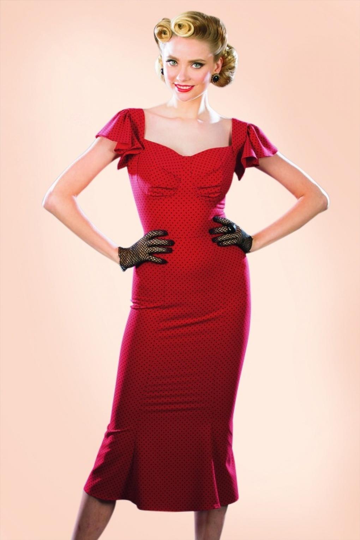 Wiggle Dresses Tulsa Polkadot Pencil Dress in Red £165.51 AT vintagedancer.com