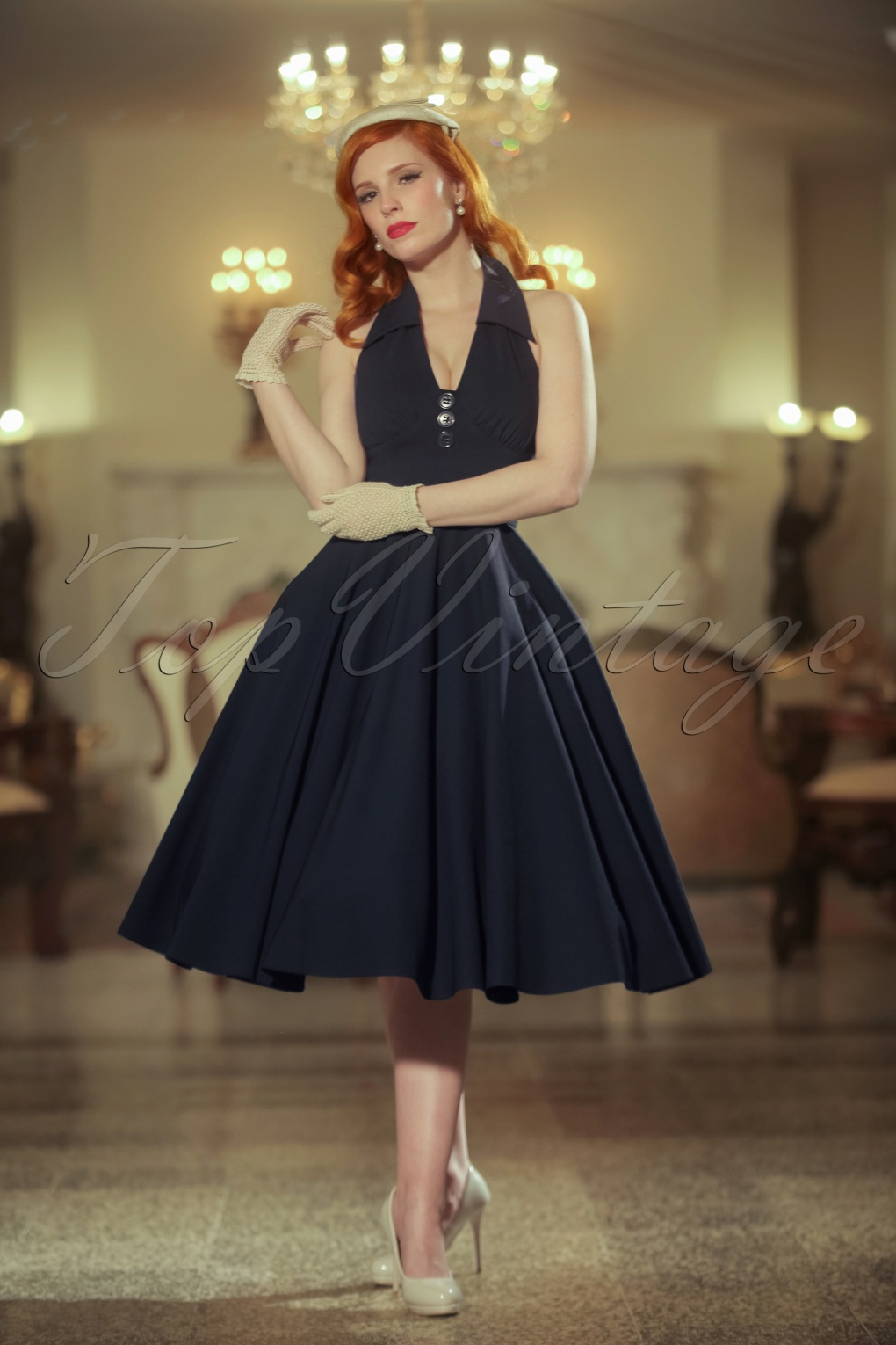 1950s Style Cocktail Dresses & Gowns The Rose Swing Dress in Navy £127.35 AT vintagedancer.com