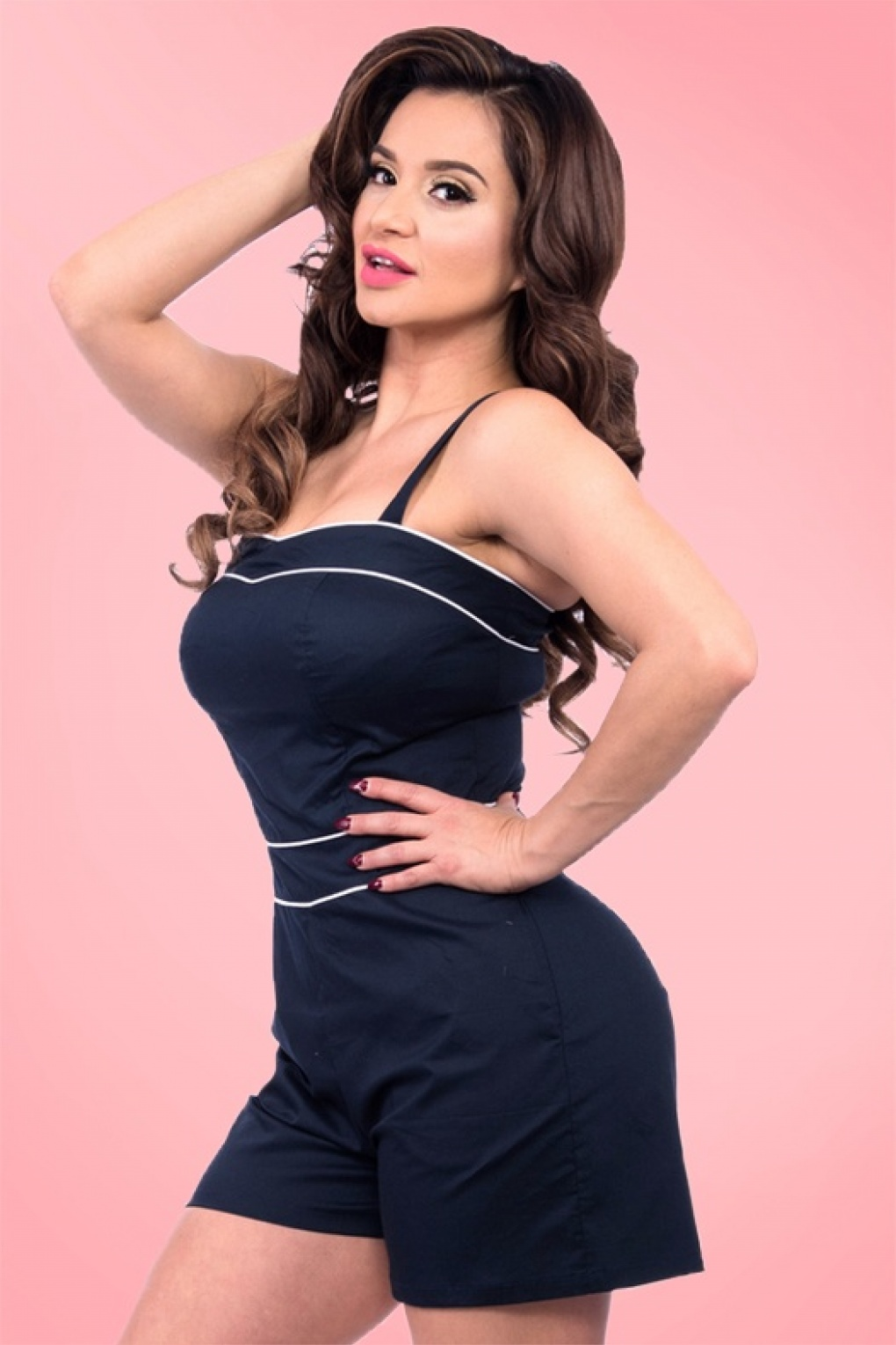 Vintage Rompers and Retro Playsuits 50s Summer Breeze Playsuit in Navy £69.26 AT vintagedancer.com