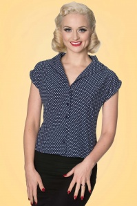 Banned Lovely Day Navy Polkadot Top 20940 1