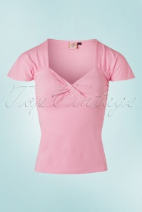 Banned Retro 50s She Who Dares Top in Light Pink