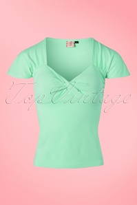 50s She Who Dares Top in Mint Green