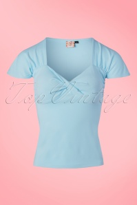 50s She Who Dares Top in Light Blue