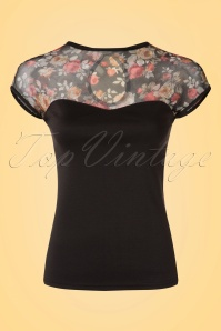 50s Miss Fancy Roses Top in Black