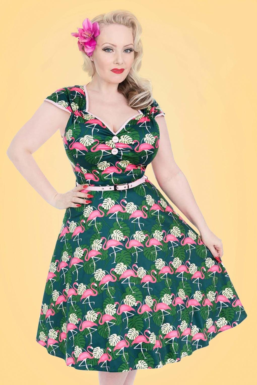 1950s Swing Dresses 50s Isabella Fabulous Flamingo Swing Dress in Green £63.58 AT vintagedancer.com