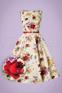 50s Hepburn Roses Swing Dress in Cream