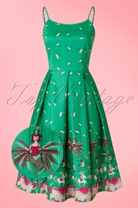 50s Evelyn Circus Swing Dress in Green