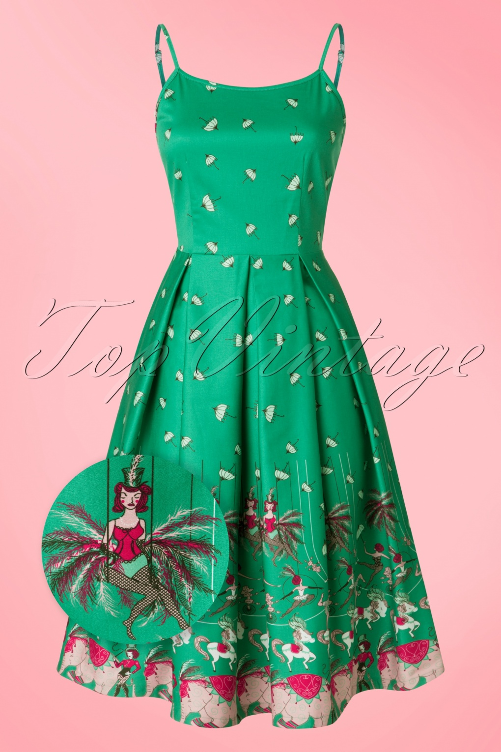 1940s 1950s Pinup Dresses for Sale 50s Evelyn Circus Swing Dress in Green £42.37 AT vintagedancer.com