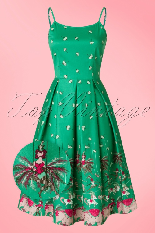 Lindy Bop Green Umbrella Circus Dress 102 49 21752 20170331 0003wv