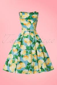Lady V Hepburn Light Blue Lemon Swing Dress 102 39 21193 20170331 0003W