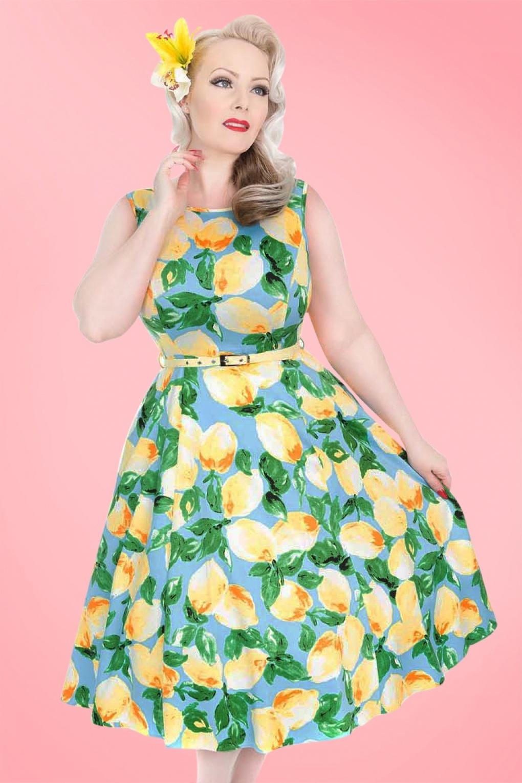 1950s Swing Dresses 50s Hepburn Lemon Swing Dress in Light Blue £67.82 AT vintagedancer.com
