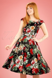 50s Christy Roses Swing Dress in Navy