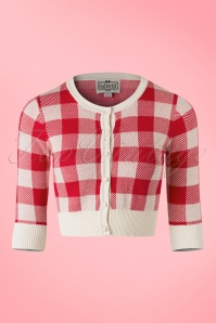 Collectif Clothing Lucy Gingham Cardigan in Red 20645 20161130 0003w