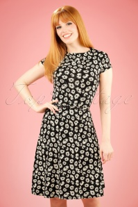 60s Summer Meadow Skater Dress in Black