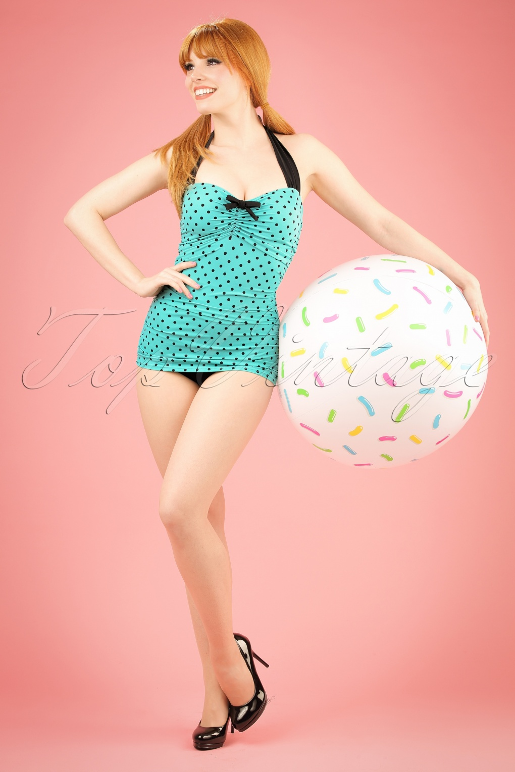 Vintage Inspired Retro Swimsuits 50s Rogues Polkadots Onepiece Swimsuit in Vintage Blue £43.94 AT vintagedancer.com