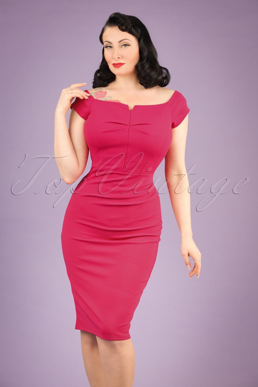 Wiggle Dresses 50s Louisa Pencil Dress in Magenta £42.37 AT vintagedancer.com