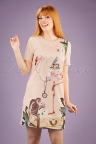 60s Flamingo Tunic Dress in Soft Pink