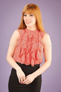 60s Reeva Ruffled Top in Peach Pink