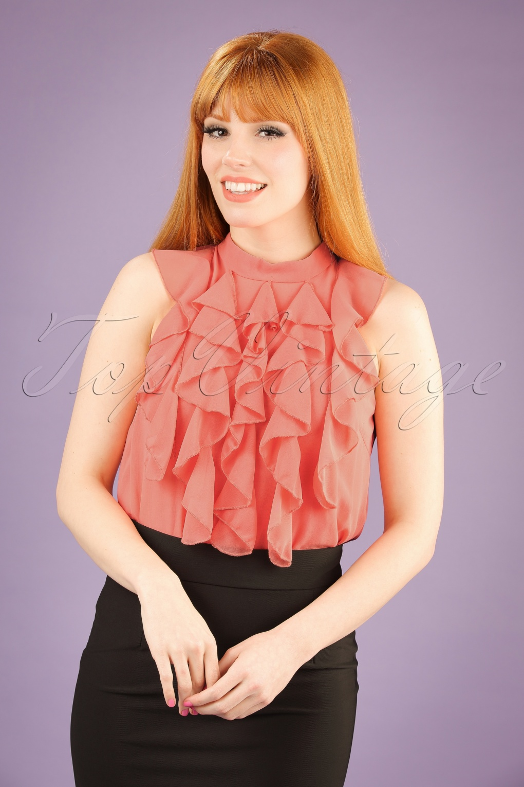 Shop 1960s Style Blouses, Shirts and Tops 60s Reeva Ruffled Top in Peach Pink £20.15 AT vintagedancer.com