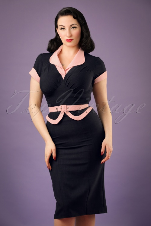 Miss Candyfloss Navy Pencil Dress 100 31 20617 20170224 00010W