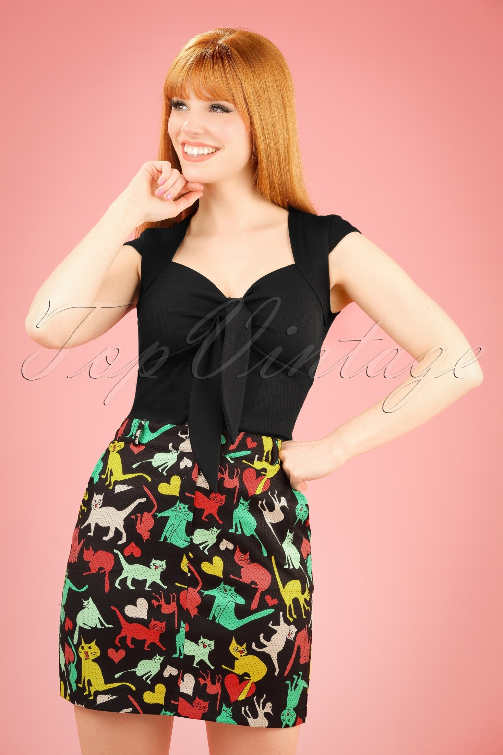 Retro Skirts: Vintage, Pencil, Circle, & Plus Sizes 60s Valentine Cat Square Skirt in Black £50.91 AT vintagedancer.com