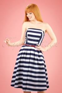 50s Lana Stripes Strapless Swing Dress in Navy and White