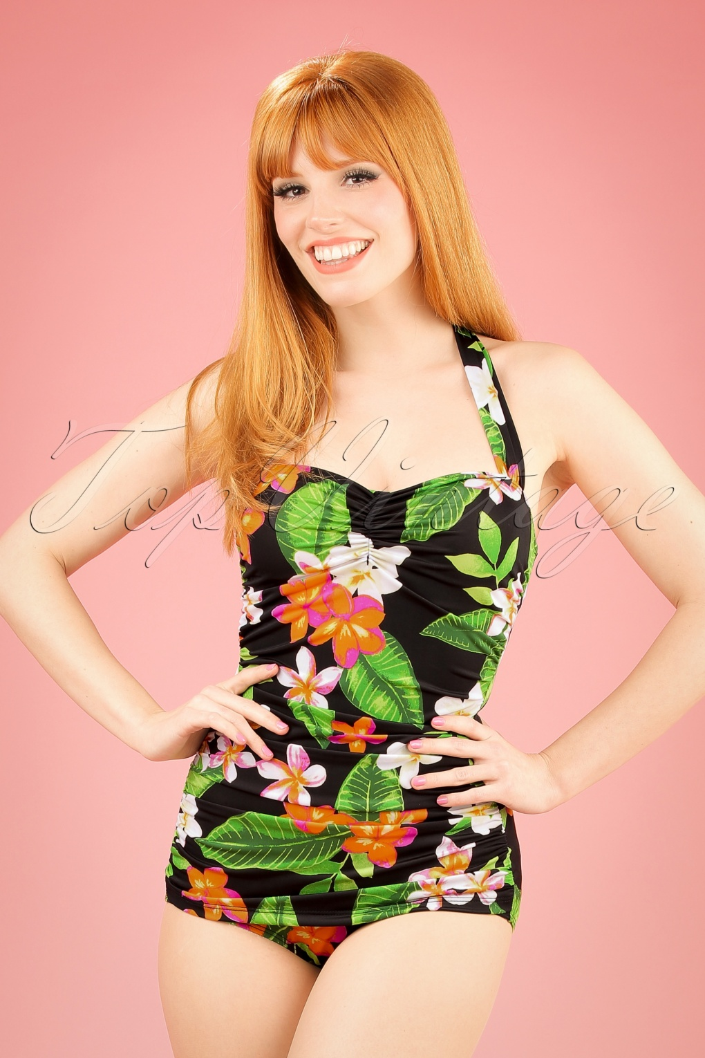 Vintage Inspired Retro Swimsuits 50s Classic Sheat Floral Swimsuit in Black £90.19 AT vintagedancer.com