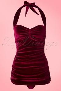 Girlhowdy Classic Burgundy Velvet Bathing Suit 161 20 20856 20170217 0001W