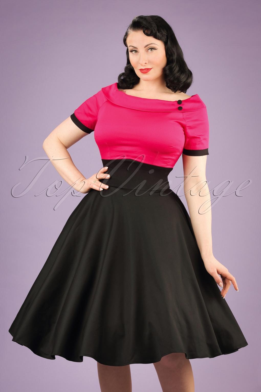 50s Darlene Swing Dress In Black And Hot Pink