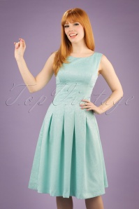 Yumi Floral Lace Panel Dress in Mint Blue 102 30 20137 20170220 002W