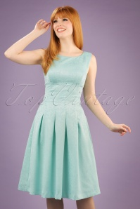 Yumi Floral Lace Panel Dress in Mint Blue 102 30 20137 20170220 001W
