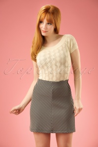 60s Diana Ottoman Skirt in Cream