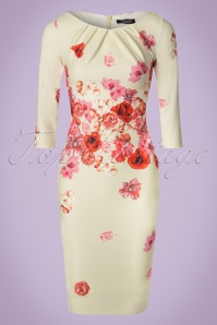 Vintage Chic Red Cream Floral Pencil Dress 100 57 21509 20170307 0003W