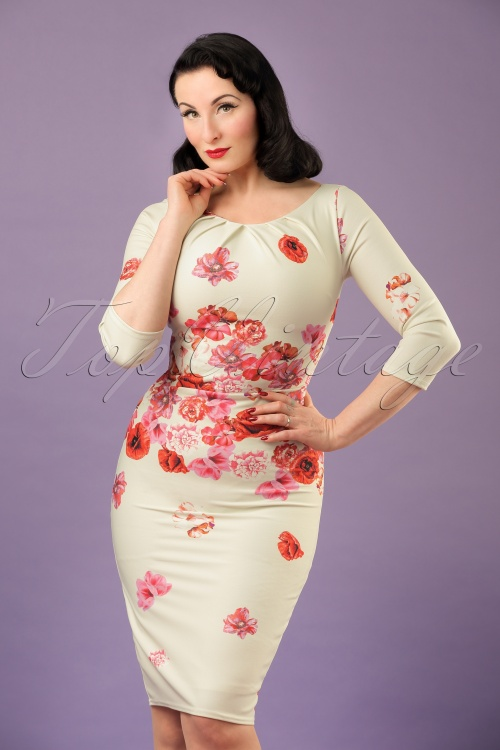 Vintage Chic Red Cream Floral Pencil Dress 100 57 21509 20170307 1W