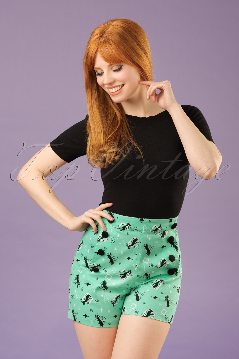 1950s Shorts 50s Flossy Cats Shorts in Mint Green £34.21 AT vintagedancer.com