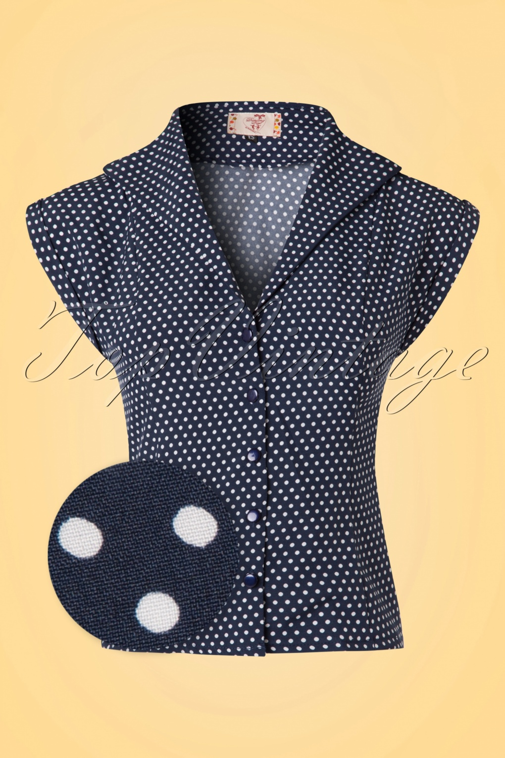 1950s Rockabilly & Pinup Tops, Shirts, Blouses 50s Lovely Day Polkadot Blouse in Navy and White £25.64 AT vintagedancer.com