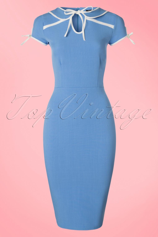 Wiggle Dresses 50s Geneva Pencil Dress in Lavender Blue £46.61 AT vintagedancer.com