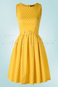50s Lola Polkadot Swing Dress in Yellow