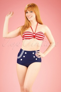 50s Joana Stripes Halter Bikini in Red White and Navy