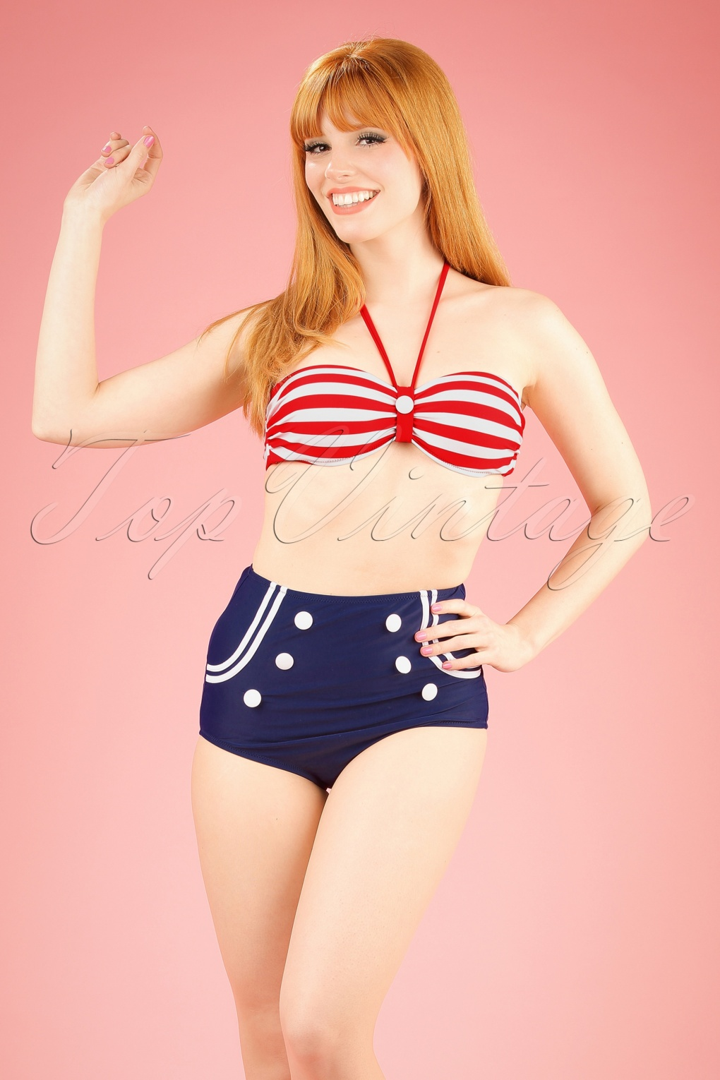 Sailor Dresses, Nautical Dress, Pin Up & WW2 Dresses 50s Joana Stripes Halter Bikini in Red White and Navy £40.59 AT vintagedancer.com