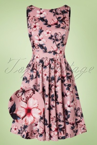 50s Tea Floral Swing Dress in Light Pink